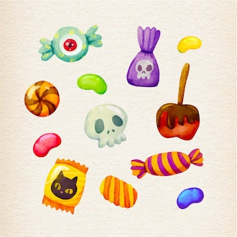 Watercolor design halloween candy collection