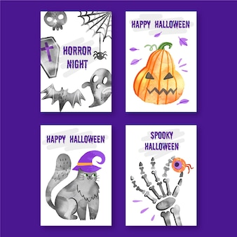 Watercolor design halloween card collection