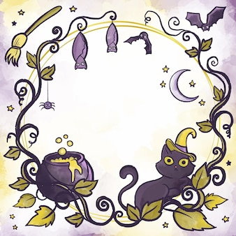 Watercolor design halloween frame