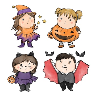 Watercolor design halloween kid collection