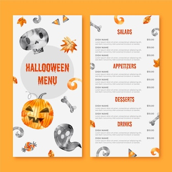 Watercolor design halloween menu template