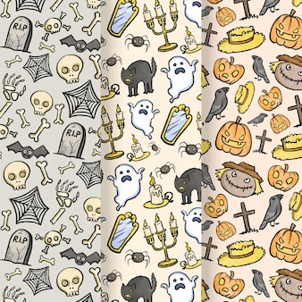Watercolor design halloween patterns