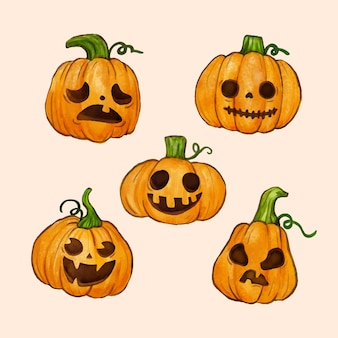 Watercolor design halloween pumpkin set