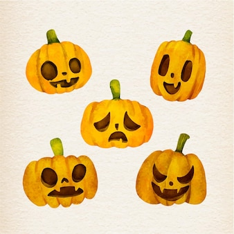 Watercolor design halloween pumpkins