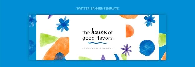 음식 트위터 헤더의 수채화 디자인