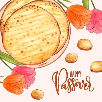 Watercolor design passover celebration