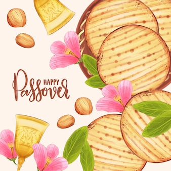 Watercolor design pesach celebration