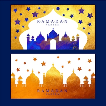 Акварель дизайн рамадан баннеры