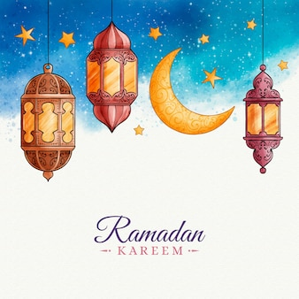 Watercolor design ramadan celebration