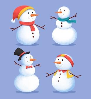水彩デザインの雪だるまキャラクターコレクション
