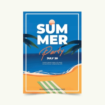 Watercolor design summer party poster