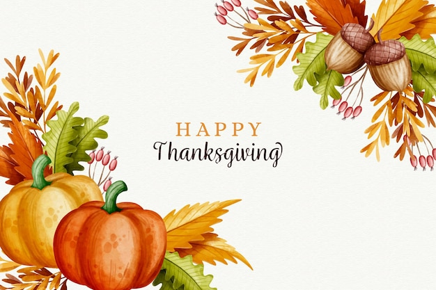 Watercolor design thanksgiving background