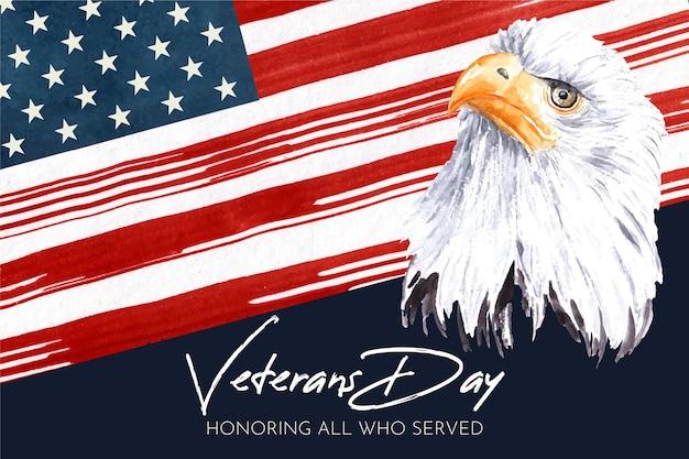 水彩画デザイン退役軍人の日のお祝い