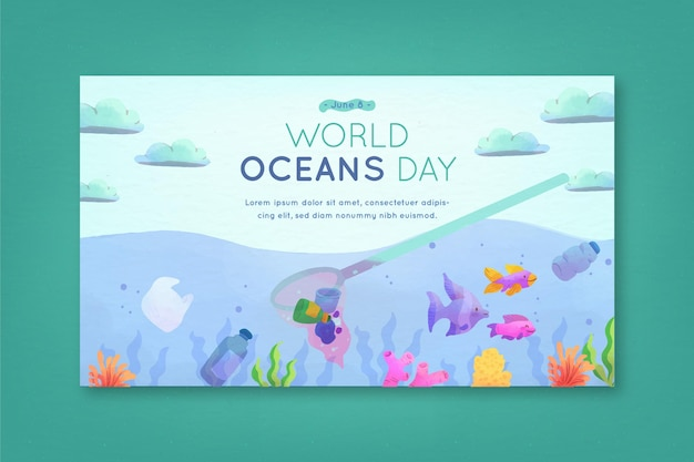 Watercolor design world oceans day banner