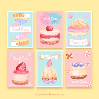 Watercolor dessert card collection