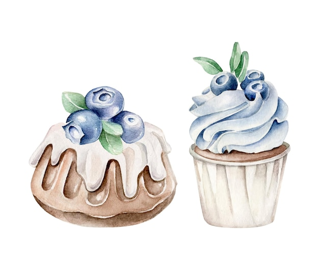 Watercolor desserts with blueberry