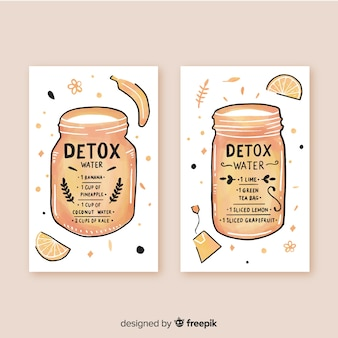 Watercolor detox fruit juice cards