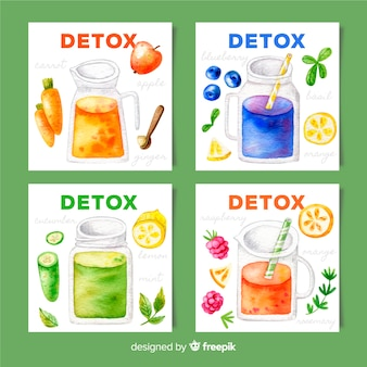 Watercolor detox fruit juice cards