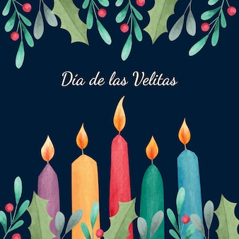 Celebrazione dell'acquerello día de las velitas