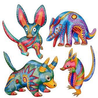 Watercolor dia de muertos alebrijes collection