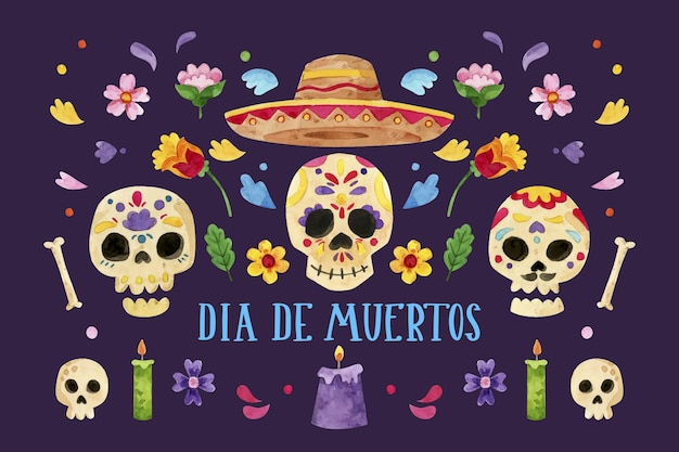 Watercolor dia de muertos background