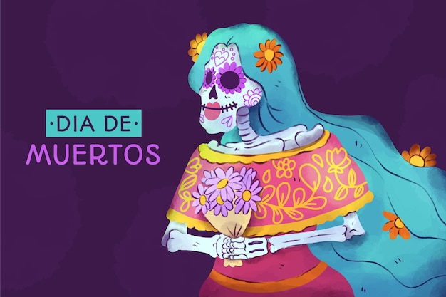 Watercolor día de muertos background