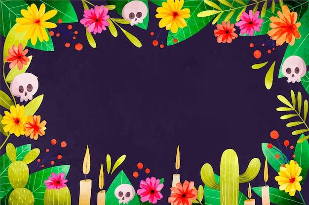Watercolor dia de muertos background