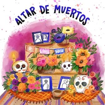 Акварель dia de muertos семейный домашний алтарь иллюстрация