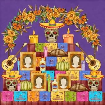 水彩画の死者の日家族の家の祭壇のイラスト