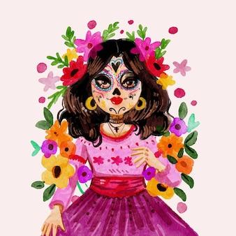 Watercolor dia de muertos illustration