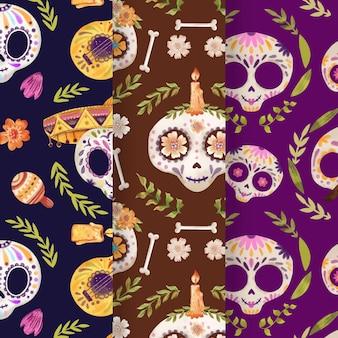 Watercolor dia de muertos patterns collection