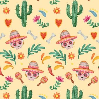 수채화 dia de muertos 패턴 컬렉션