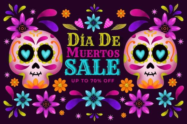 Акварельный фон продажи dia de muertos