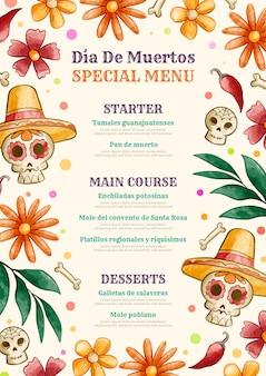 Watercolor dia de muertos vertical menu template