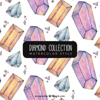 水彩ダイヤモンドパターン
