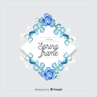 Watercolor diamond spring floral frame