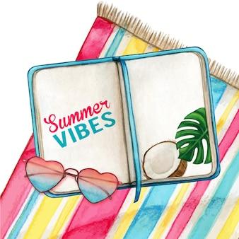 ハートグラスとビーチタオルの水彩日記
