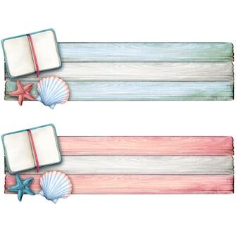Watercolor diary starfish and seashell