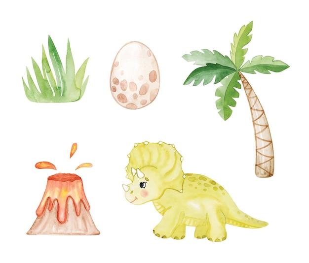 白い背景で隔離の水彩恐竜と手のひらセット。火山と恐竜の卵のイラスト。