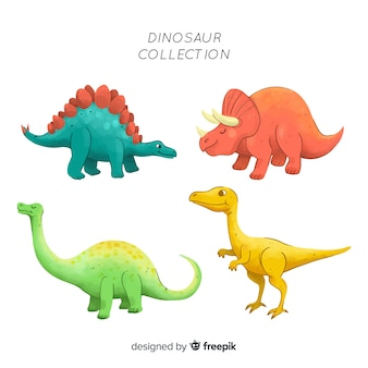 Watercolor dinosaur collection