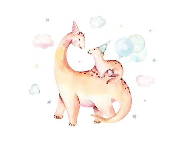 白い背景で隔離の水彩恐竜手描きイラスト漫画赤ちゃんshowe
