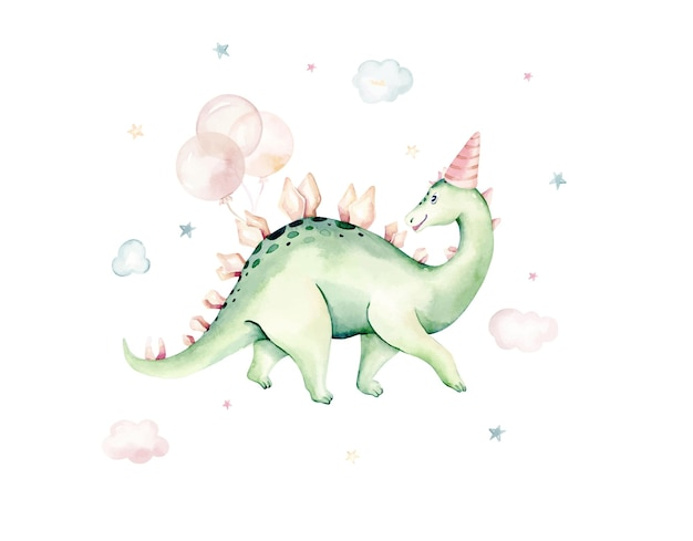 Watercolor dinosaur isolated on a white background hand drawn illustration cartoon baby showe
