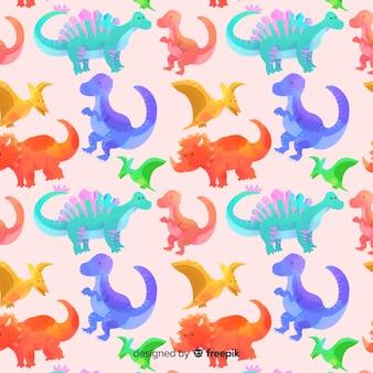 Watercolor dinosaur pattern