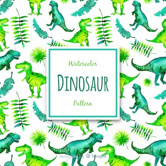Watercolor dinosaur pattern