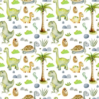 Watercolor dinosaurs and turtles seamless pattern