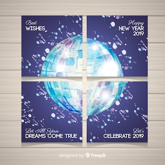 Watercolor disco ball new year party cards collection