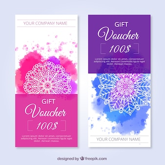 Watercolor discount coupons with abstract shapes