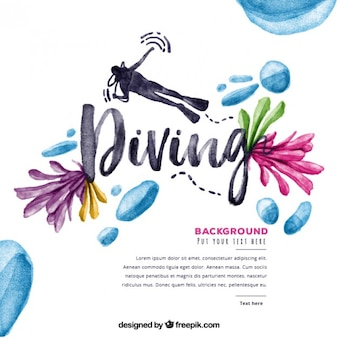 Watercolor diving background with flowers and droplets