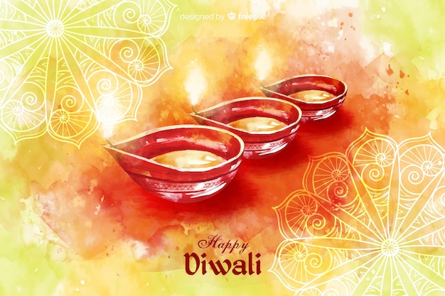 Watercolor diwali background with candles