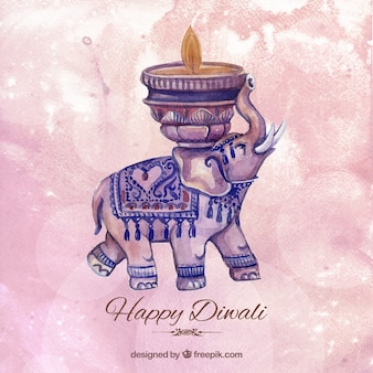 Watercolor diwali background with an elephant